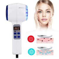 belleza caliente martillo frío al por mayor-Dispositivo de cuidado facial Hot Cold Hammer Crioterapia Tratamiento con fotones azules Piel Belleza Masajeador Lifting Rejuvenecimiento Máquina Facial RRA1209