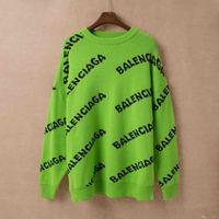 pulôver verde suéter venda por atacado-Paris 19 homens e mulheres nova carta jacquard camisola gola redonda verde índigo marrom S M L XL XXL ## 887
