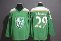 maillot de practica de hockey negro al por mayor-Las camisetas de hockey sobre hielo de los hombres practican rojo negro gris verde # 29 vegas golden knights Andre Fleury orden de mezcla