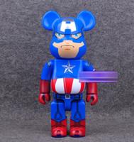 w juguetes al por mayor-La nueva manera Medicom Toys 400% Bearbrick Vinly muñeca Be @ RBRICK Capitán América 400% muñecas 28CM W / caja de color amarillo