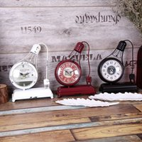 Wholesale bulb clock resale online - Creative Handmade Collectibles Model Ornaments Decorated Bar Bell Bulb Style Reloj Table Clock Vintage Home Decor