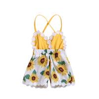 neugeborene häkelarbeit kleidung großhandel-Baby Mädchen Design Kleidung Säugling Gedruckt Sonnenblume Häkeln Blumen Enge Gurte Neugeborenen Bogen Schulter Sommer 1-4 T