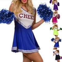menina da escola do vestido extravagante venda por atacado-Meninas Cheerleader Traje Hight School Girl Musical Cheerleading Uniforme Cheer Fancy Dress sexy