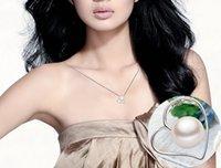 ingrosso pendente del cuore piatto-Modelli a forma di cuore Pendente con perla d'acqua dolce 10-11mm Pendente rotondo con perla abbagliante Pendente all'ingrosso