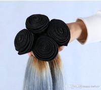 saç paketleri 6a notu toptan satış-Uygunluğu Sınıf 6A-100% İnsan Çift Atkı Saç Ipek düz Saç Demeti, Ombre renk T1B / Gri, ağırlık 100 g / adet 3 adet / grup, ücretsiz DHL