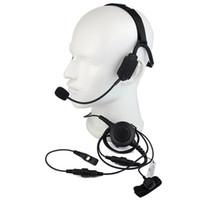 fones de ouvido militares walkie talkie venda por atacado-Dedo PTT MIC Bone Condução Do Osso Militar Fone De Ouvido Fone de Ouvido para HYT PD780 PD780 PD780 PD780 Rádio Walkie talkie C2220A
