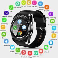 niños relojes deportivos a prueba de agua al por mayor-V8 Smart Watch Bluetooth Pantalla táctil Android Impermeable Deporte Hombres Mujeres Smartwatched con cámara Tarjeta SIM PK DZ09 GT08 A1