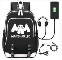 usa computer großhandel-USA Mode DJ Marshmello USB Rucksack Schüler Schultasche Jugend Computertasche