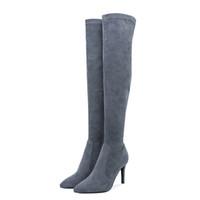 bottes au genou à la mode femme achat en gros de-Livraison 48h à la mode les femmes Plus de cuissardes en daim stretch Faux talons Stiletto Tirez sur Chaussures de base Femme Taille 33-39