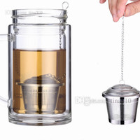 Wholesale stainless teapots resale online - Durable stainless steel tea ball strainer reusable stainless steel mesh herbal ball tea strainer teapot lock tea strainer injector T2I5066