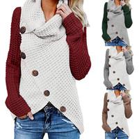 camisolas de crochê para mulheres venda por atacado-Mulheres Botão camisola de malha patchwork Casual lã Turtle Gola subida Crocheted Enrole pulôver Chunky Aqueça Xmas Outwear Brasão LJJA3284-4