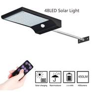 sensor de luz led inalámbrico al por mayor-Luz solar del LED 48 LED del sensor de movimiento PIR Luces de la seguridad inalámbrica lámpara solar del jardín de pared de luz con mando a distancia