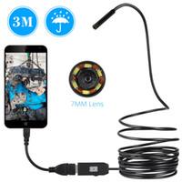 mini usb kablo inceleme kamera toptan satış-7 MM USB Endoskop Kamera 1/2/3/5 M Kablo Su Geçirmez Tel Yılan tüpü Muayene Borescope OTG Android Telefon PC Için