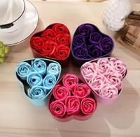 ingrosso petali di rosa sapone a mano-6Pcs 1set Rose Soap Flower regali Giocattoli Romantic Wedding Party Handmade Petals Decor San Valentino regalo di simulazione rosa sapone fiore