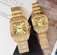 relojes de marca valentine al por mayor-Top brand Couple Luxury women men relojes amantes 'Square Diamonds Quartz Classic reloj de pulsera para hombres damas mejor regalo de San Valentín relogios