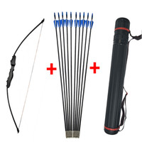 Wholesale arrow accessories resale online - 40lbs Archery Recurve Takedown Bow Straight hunting bow archery With Fiberglass Arrows Outdoor Hunting Shooting Accessories