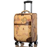 çanta haritaları toptan satış-LeTrend Retro haritası Spinner Rolling Bagaj Kadınlar Şifre Arabası Erkekler Bavul Tekerlekler 20 inç PU Deri Kabin Seyahat Çantası Trunk