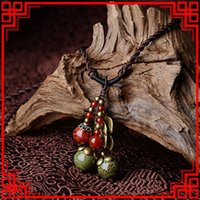 Wholesale old fashioned jewelry resale online - Old Fashioned Chinese wind jewelry ethnic stone necklace traditional vintage choker necklace copper flowers ceramic necklace