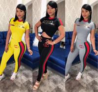 europäische trainingsanzüge großhandel-S-3XL Europäische neue Frauen setzen O-Neck Brief drucken Tops und lange Hosenanzug Damen 2 Stück Trainingsanzug Outfits