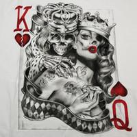 mini kart pokeri toptan satış-Erkek Kalpler Kralların Kraliçesi T-Shirt S-3XL Dövme Şeker Kafatası Poker Oyun Kartı