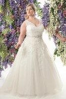 vestido de noiva com cinto venda por atacado-Personalizar Vestido De Noiva, Vestidos De Noiva Plus Size 2019 Vestidos De Noivas Vestidos De Noiva Appliqued Tulle Custom Made A-line