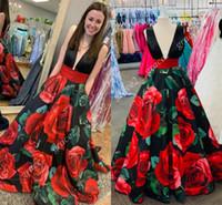 Moda fiesta vestidos marca rosas rojas
