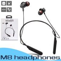 stereo kulaklık perakende paketi toptan satış-M8 Manyetik Boyun Bandı Bluetooth Kulaklıklar Spor Kablosuz Kulaklık Stereo Kulaklık Perakende Paketi Ile Android iPhone Samsung Için Mic