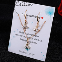 Discount white gold owl necklace Wedding Cubic Zircon Jewelry Set 16 Styles Dancer Girl Owl Star Charm Crystal Water Drop Pendant Necklaces Earrings Sets Shininy Zircon