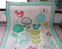 Wholesale bird crib bedding set for sale - New arrival Crib bedding set Cotton Baby crib set Baby cuan quilt Cot bedding set Embroidery Sunflower Butterfly bird flower