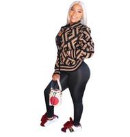 ingrosso cappotti americani per le donne-Lettera Print Jacket 2019 Autunno Donna Abbigliamento Top Casual Donna Giacche e cappotti Donna con scollo a V Capispalla europea e americana