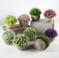 ingrosso palline finte-Erba Fiore Falso sfera di plastica Bonsai simulazione dei fiori artificiali pianta verde ristabilisce Home Furnishing MMA1704-6
