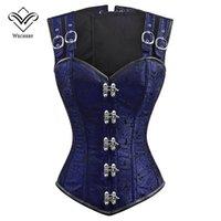 trajes de corsé azul al por mayor-Wechery 12 corsé de hueso de acero Vintage Steampunk Overbust Shaper Tops para las mujeres más tamaño calidad azul sexy adelgazamiento del traje