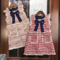 schwarze kinder kleidet entwürfe großhandel-Mädchen Weste Kleid Kinder Designer Kleidung Herbst und Winter Strickweste Kleid Bogen Knoten dekorative Mode Kleid