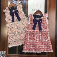 dekorative mädchen großhandel-Mädchen Weste Kleid Kinder Designer Kleidung Herbst und Winter Strickweste Kleid Bogen Knoten dekorative Mode Kleid