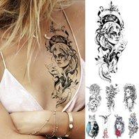 Wholesale women skull tattoos resale online - Waterproof Temporary Tattoo Sticker Mermaid Doll Girl Tattoos Butterfly Wolf Skull Body Art Arm Fake Sleeve Tatoo Women Men