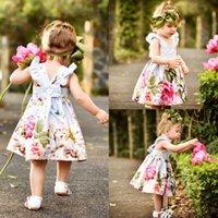 vestido popular para la fiesta al por mayor-2018 Recién nacido Toddler Baby Girls Dress Flower Summer Party Imprimir Sin Mangas Popular Vestido de Algodón Vestido de Sundress Tamaño 0-18 M