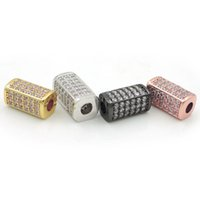 collar rectángulo cuentas al por mayor-14 * 6 * 6mm Micro Pave Claro CZ Granos del rectángulo aptos para hacer pulseras o collares de bricolaje joyería