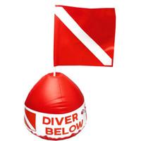 ingrosso bandiera galleggiante-Indicatore di superficie Gonfiabile Dive Flag Boa Segnale Galleggiante Scuba Diving Dive Snorkeling Sign Boa Rosso Bianco Safe Float Diver Below