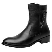 botas altas de vestir para hombre al por mayor-Nueva moda para hombre botas altas negras de cuero suave botas de vaquero vestido de punta zapatos del pie zapatos negros botas militares bota masculina hombre
