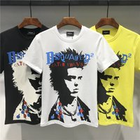 Wholesale black people clothes for sale - 2019 New Arrival Summer Tees Top Quality Designer Men T Shirts D2 Print People Fashion Clothing Yellow Black White Size M XL