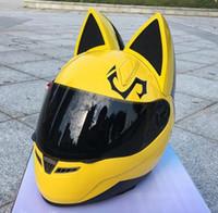 cabelo rosa branco venda por atacado-Grátis frete 2019 capacete da motocicleta cat personalidade cabelo capacete amarelo / rosa / preto / branco