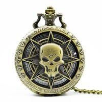 zodyak cep saati toptan satış-Lüks Koşu Altın At Kuvars Pocket saat Zodyak Çin Tarzı Kolye Takı Ile Steampunk Erkek Kadın Hediyeler Zincir