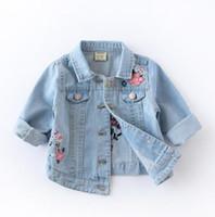 jaqueta de bebê macio venda por atacado-Primavera e Outono Desgaste das Crianças Novas Meninas Denim Jacket Lavagem De Areia Macia Bordado Bebê Denim Jacket Crianças Tops