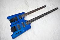 guitarra maple azul venda por atacado-Fábrica Custom Double Neck Azul Baixo Elétrico e Guitarra sem Headstock, 4 + 6 Cordas, Chama Maple Folheado, pode ser Personalizado