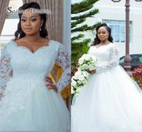 Wholesale white line wedding dress sweetheart crystal for sale - African Plus Size A Line Wedding Dresses Sweetheart Long Sleeves Lace Appliques Crystal Beaded Buttom Back Court Train Bridal Gowns