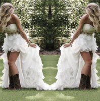 Wholesale chiffon hi lo beach wedding dresses for sale - Group buy Modest High Low Country Style Wedding Dresses Sweetheart Ruffles Organza Asymmetrical Fitted Hi lo White Summer Beach Bride Bridal Gowns