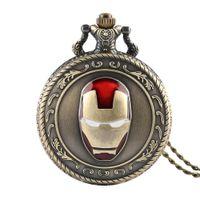 смотреть фильм человека оптовых-Mens Pocket Watch Iron Man Movie Theme Dial Quartz Pocket Watches Bronze Chain Arabic Numeric Scale Pendant Clock Best Gifts