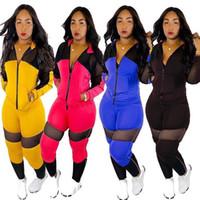 Wholesale women s mesh black leggings for sale - Group buy Women Hoodie Leggings Sports Suit Sheer Mesh Panelled patchwork tracksuit Hooded Jacket Pant Piece Set Sportswear Fall Outfits LJJA2804