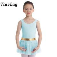 trajes de dança de ouro meninas venda por atacado-TiaoBug Crianças Meninas Ouro Listrado Cintura Tutu de Balé Profissional Vestido de Malha Crianças Ginástica Ballet Leotard Traje de Dança de Palco