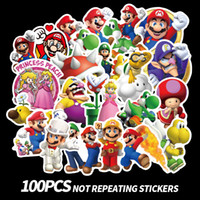 pegatinas para guitarras al por mayor-100 unids / set Anime Game Mario Cartoon Graffiti Sticker Impermeable Maleta DIY Laptop Guitarra Monopatín de Juguete Adorables Pegatinas B